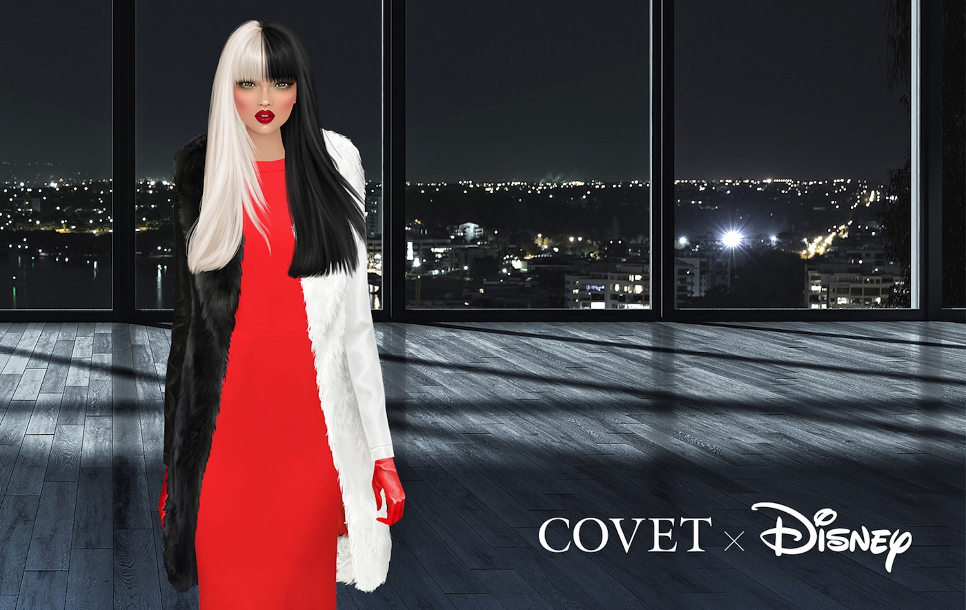 A different outfit look for Cruella de Vil from Covet x Disney