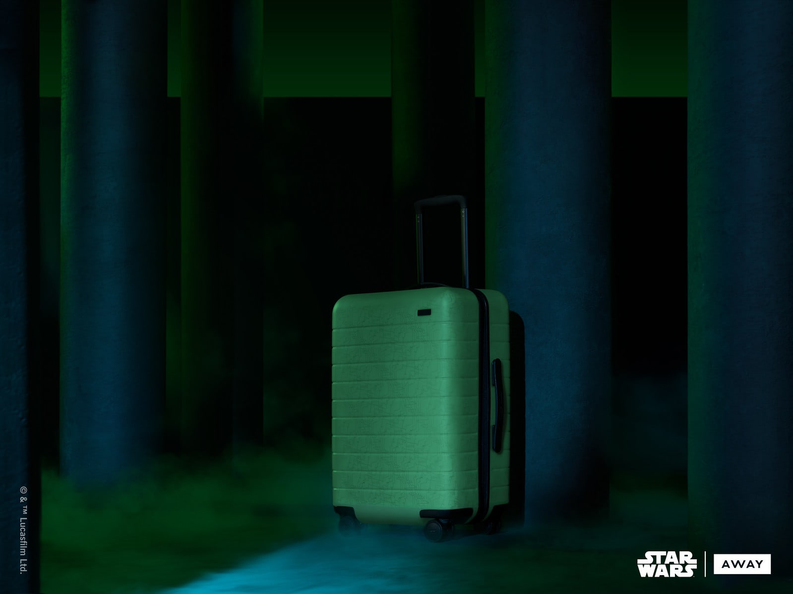 Green Away suitcase inspired from Endor from Star Wars collection