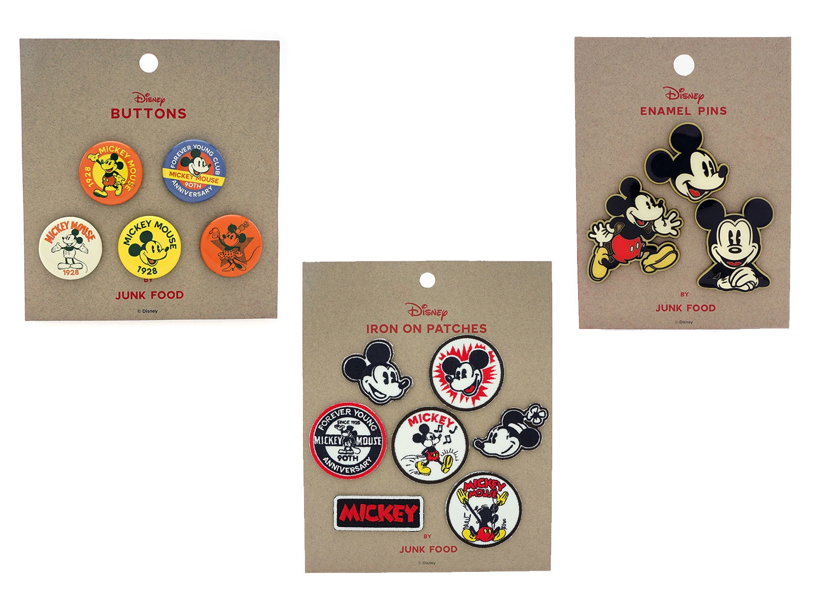 Buttons, pins and patches from Mickey Mouse Summer Collection