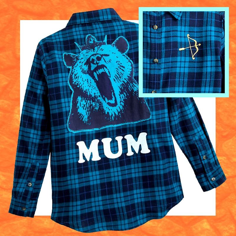 Brave-inspired blue checkered shirt with 'bear' and 'mum' print at the back