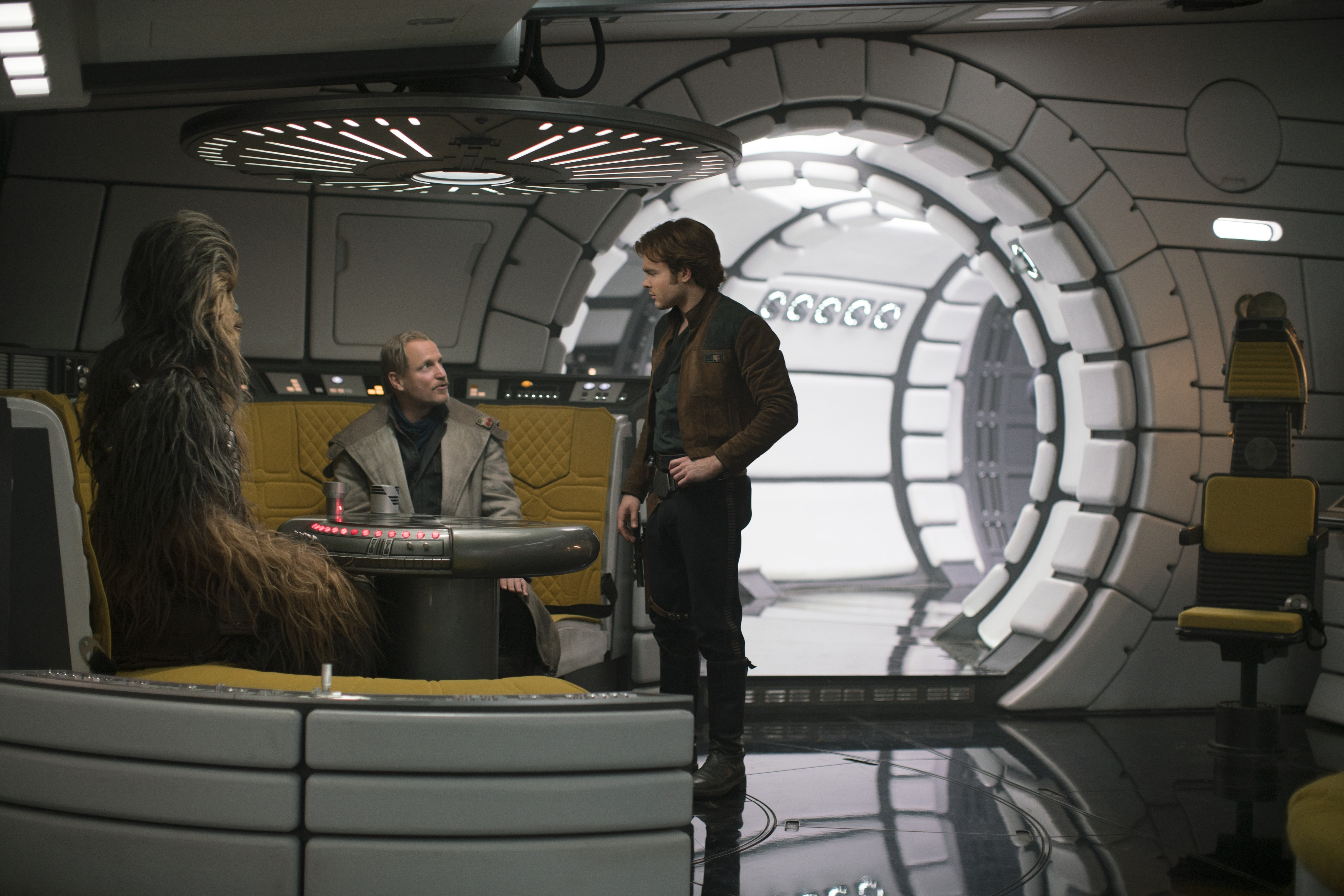 Han, Chewie on the Falcon