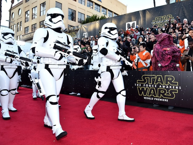 Stormtroopers marched down the red carpet, keeping the eager crowd in check.