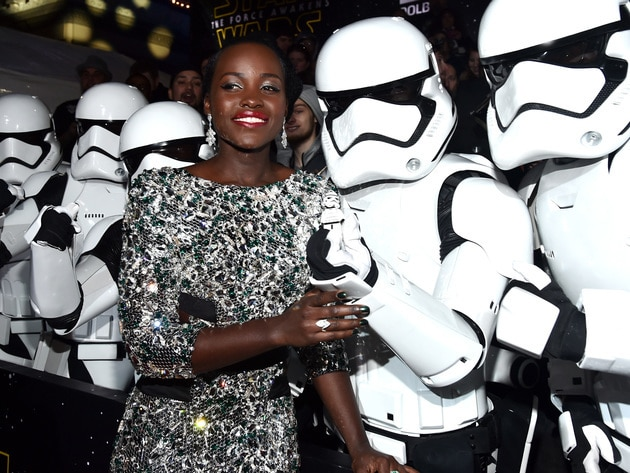 Lupita Nyong'o, who plays alien pirate Maz Kanata, poses with Stormtroopers.