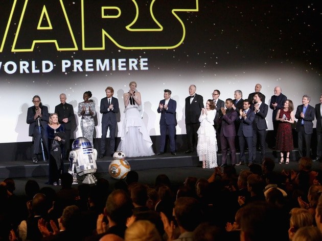 The entire cast, old and new, took to the stage to introduce the first public screening of Star W...