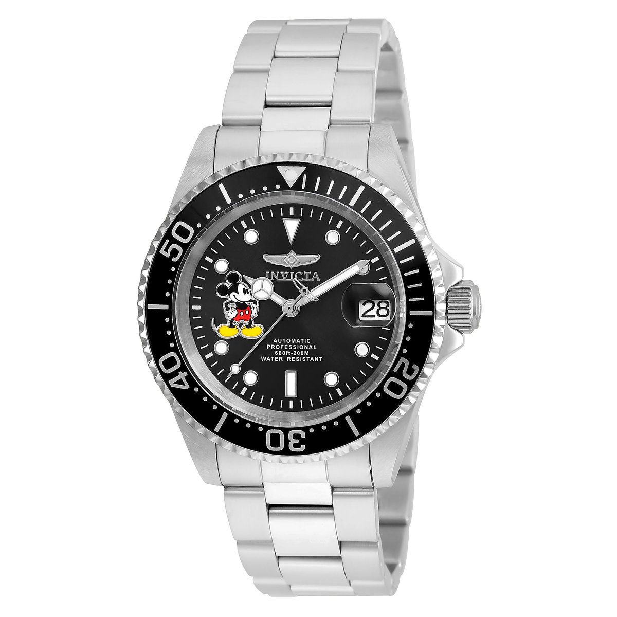 c9c058c914a Product Image of Mickey Mouse Pro Diver Watch for Men by INVICTA - Chrome  Band -