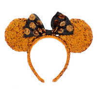 Image of Minnie Mouse Halloween Ears Sequined Headband # 1