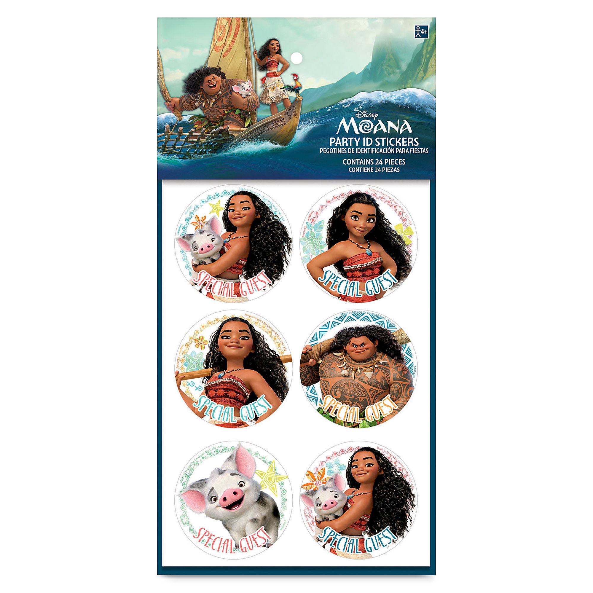 Moana Party ID Stickers - 2-Pack