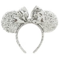 Minnie Mouse Ear Headband - Silver Sequins