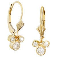 Image of Diamond Dangle Icon Mickey Mouse Earrings - 14K # 2