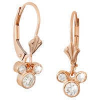 Image of Diamond Dangle Icon Mickey Mouse Earrings - 14K # 4