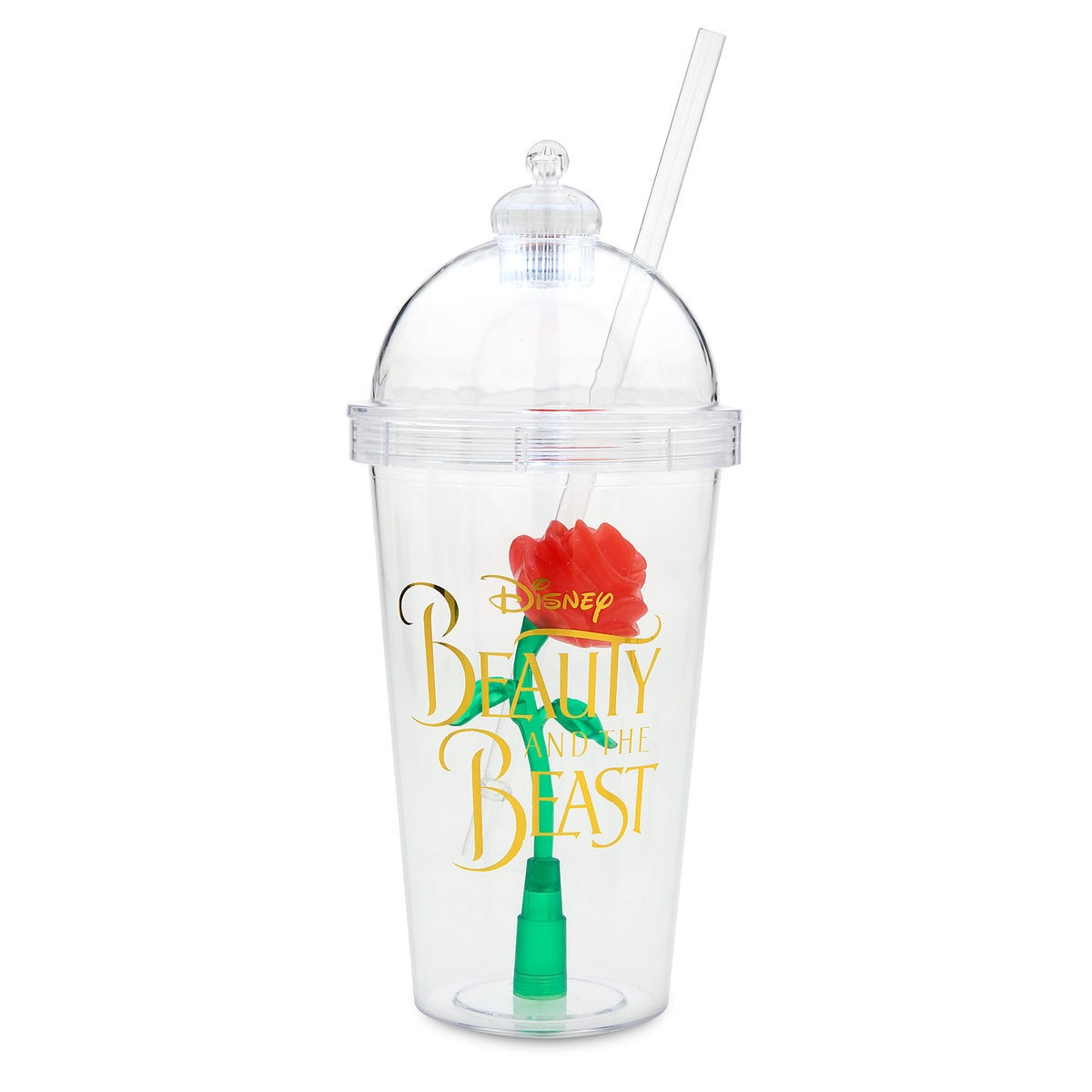 Enchanted Rose Light Up Dome Tumbler With Straw Beauty And The