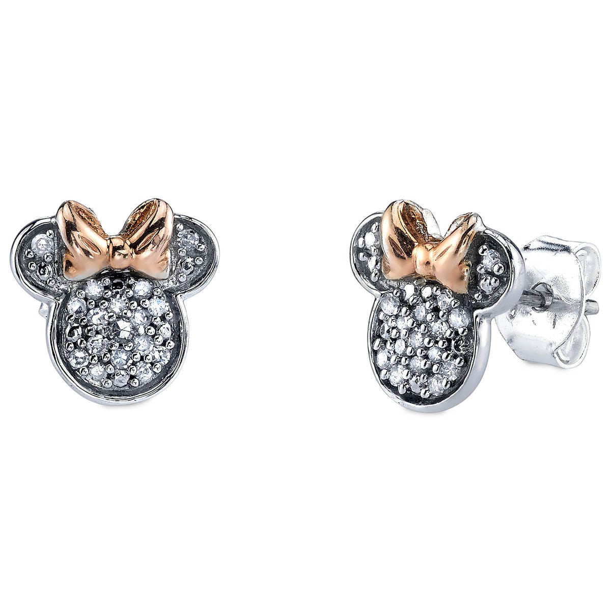 Product Image Of Minnie Mouse Icon Diamond Earrings 1