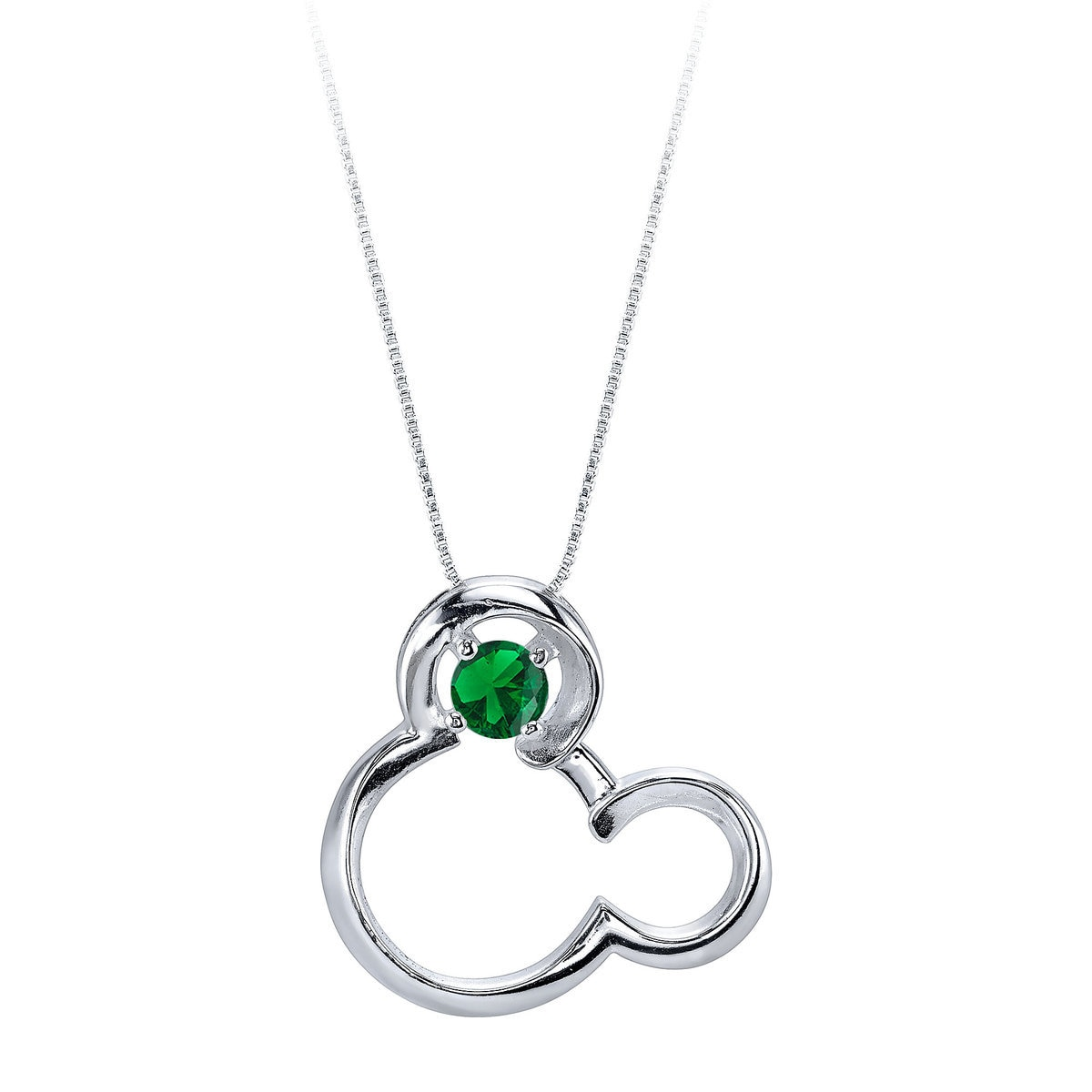 Product Image of Mickey Mouse May Birthstone Necklace for Women - Emerald # 1