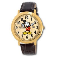 Image of Jumbo Classic Mickey Mouse Watch -- Brown/Gold # 1