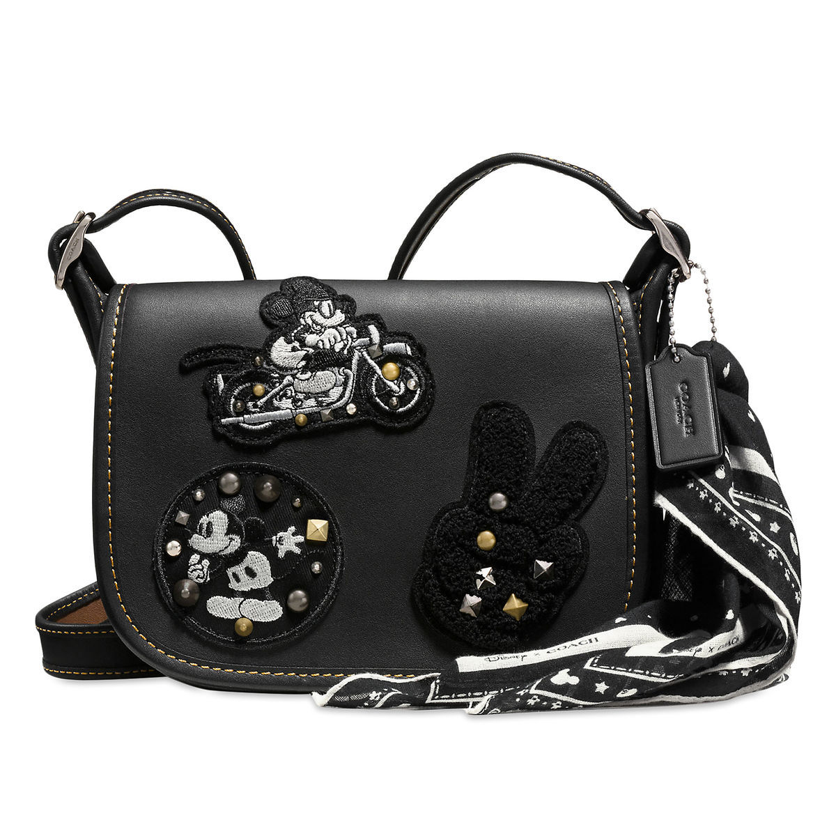Product Image Of Mickey Mouse Patch Patricia Leather Saddle Bag By Coach Black 1