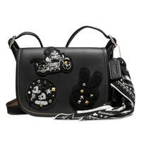 Image of Mickey Mouse Patch Patricia Leather Saddle Bag by COACH - Black # 1