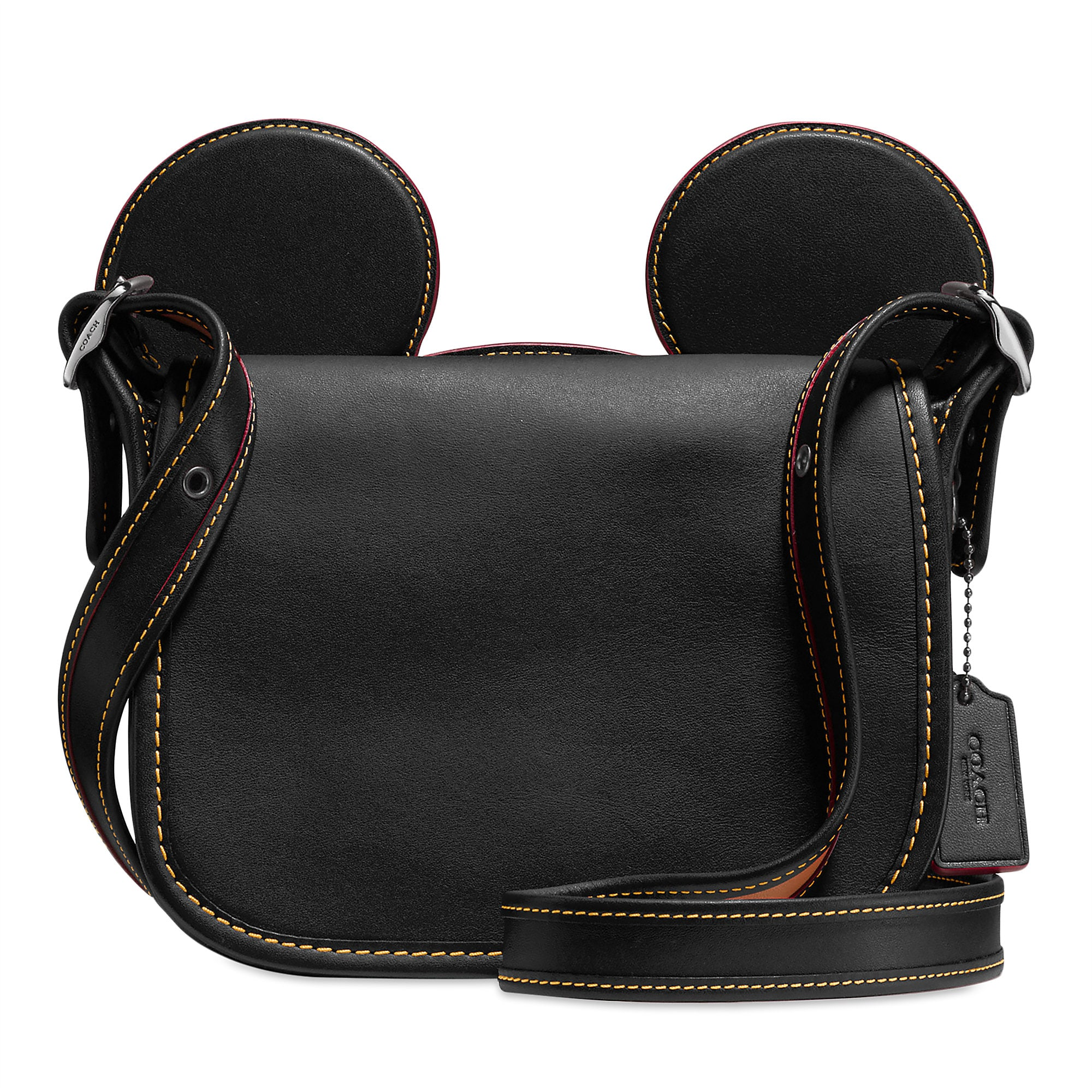 8150cc72ac07 Mickey Mouse Ears Patricia Leather Saddle Bag by COACH - Black ...
