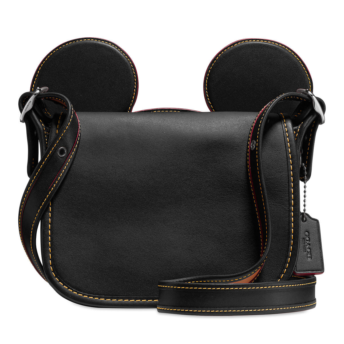 Product Image Of Mickey Mouse Ears Patricia Leather Saddle Bag By Coach Black 1
