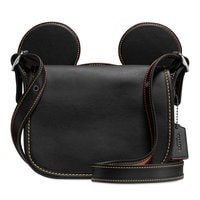 Image of Mickey Mouse Ears Patricia Leather Saddle Bag by COACH - Black # 1