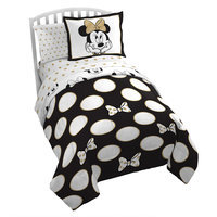 Image of Minnie Mouse Gold Polka Dot Comforter Set - Twin # 1