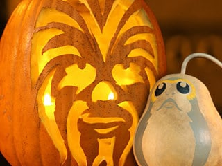 Behold! The Chewbacc-O'-Lantern and Porg Gourd