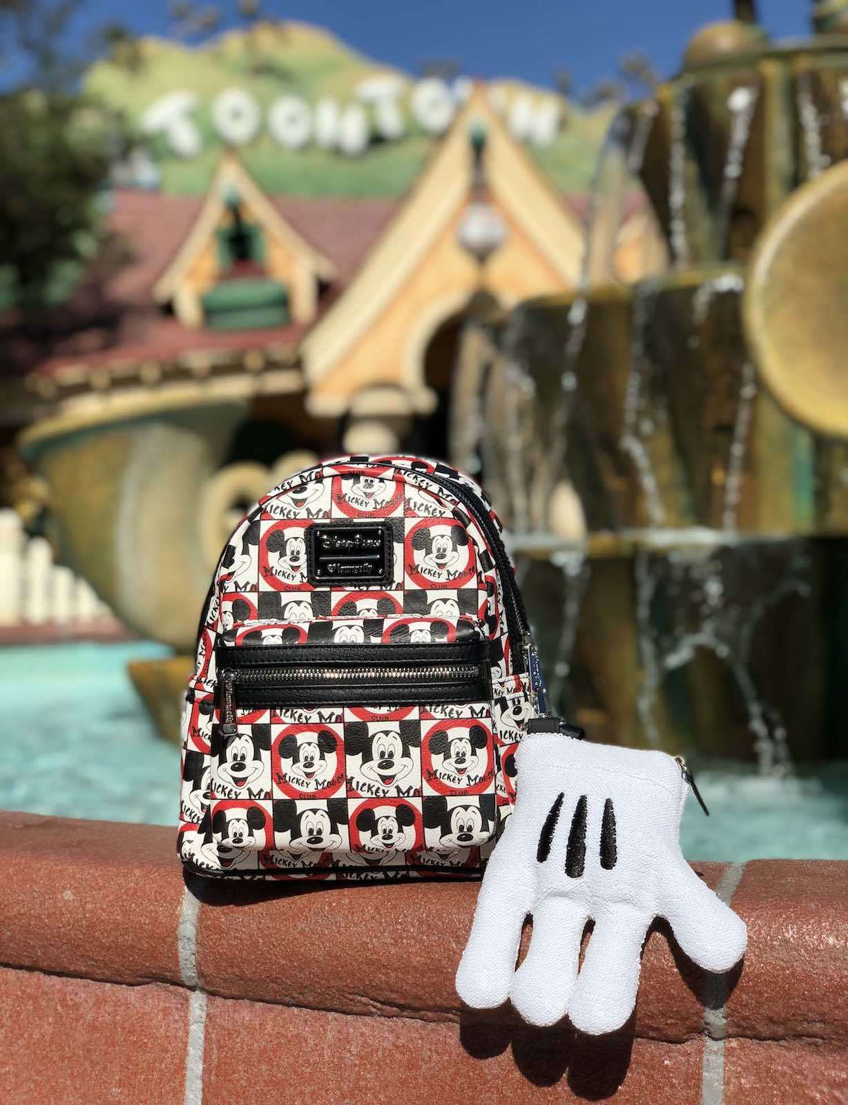 backpack and glove from the Mickey Mouse Club collection
