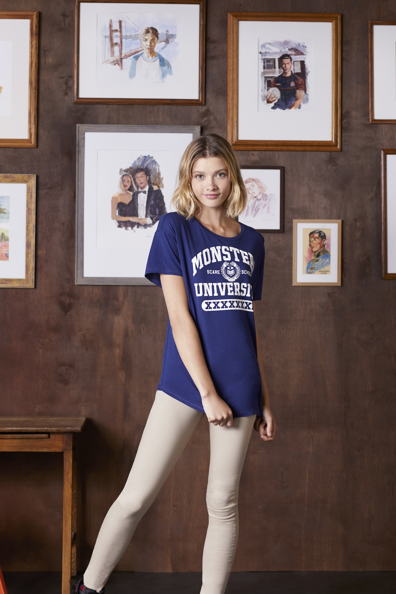 Model wearing clothing from the Monsters University Collection