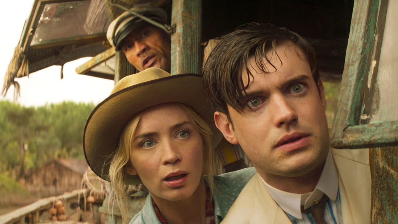 """Frank Wolff (Dwayne Johnson) and MacGregor Houghton (Jack Whitehall) from the Disney movie """"Jungle Cruise""""."""