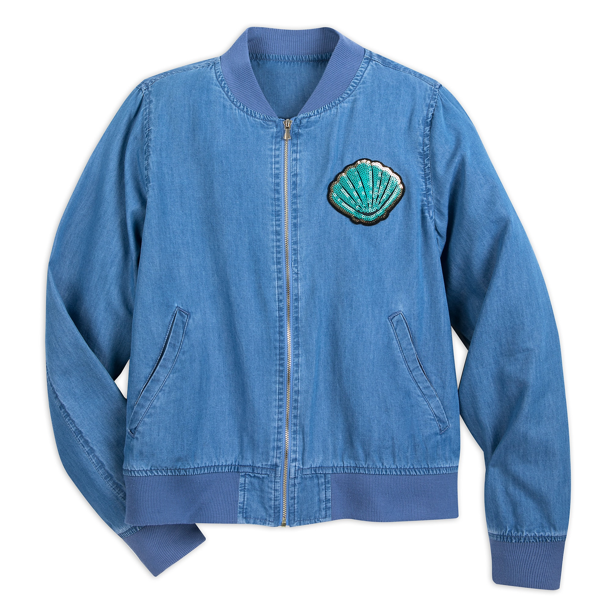Ariel Chambray Bomber Jacket for Women - Oh My Disney