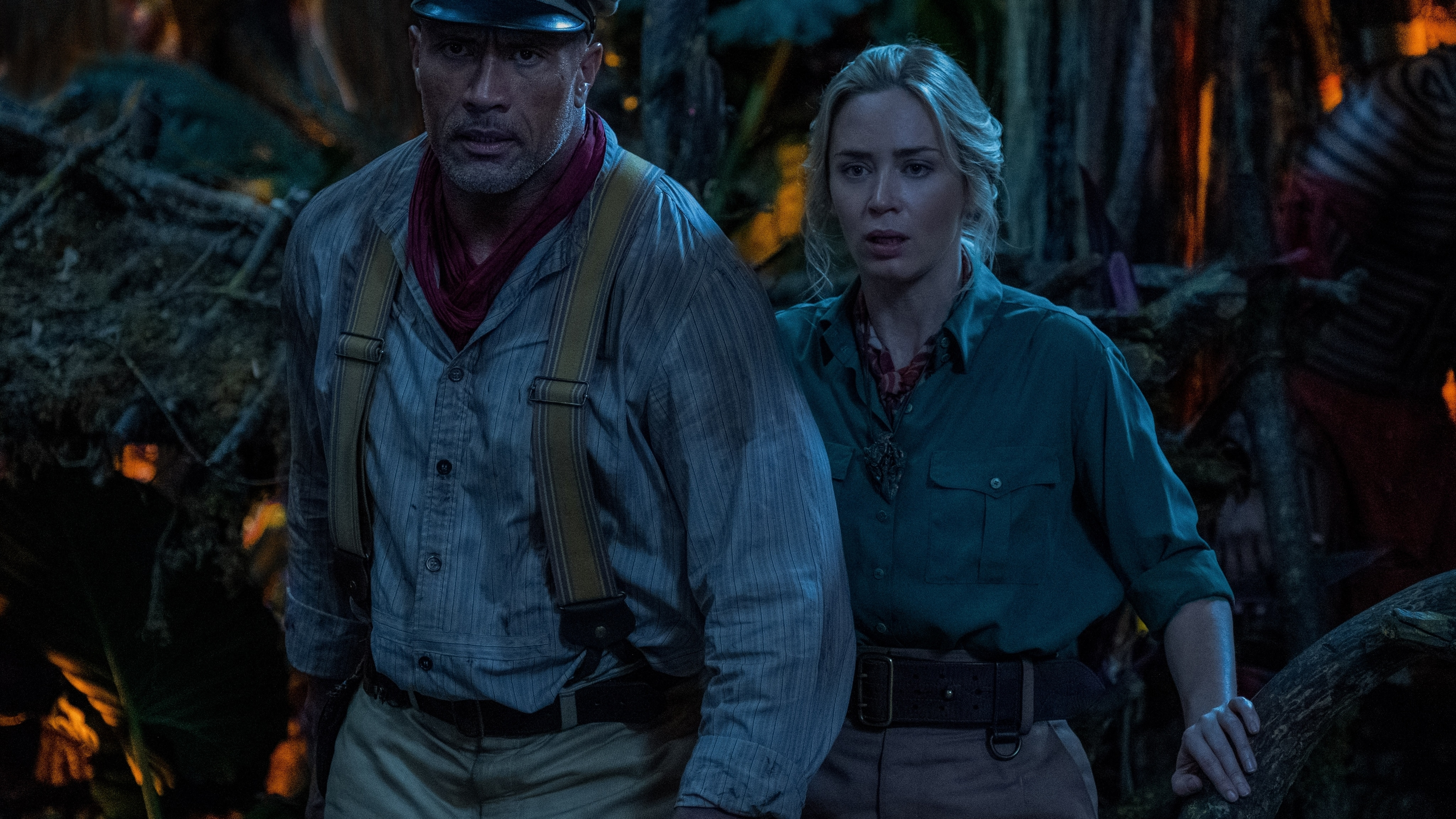 Dwyane Johnson and Emily Blunt appear side by side in The Jungle Cruise film