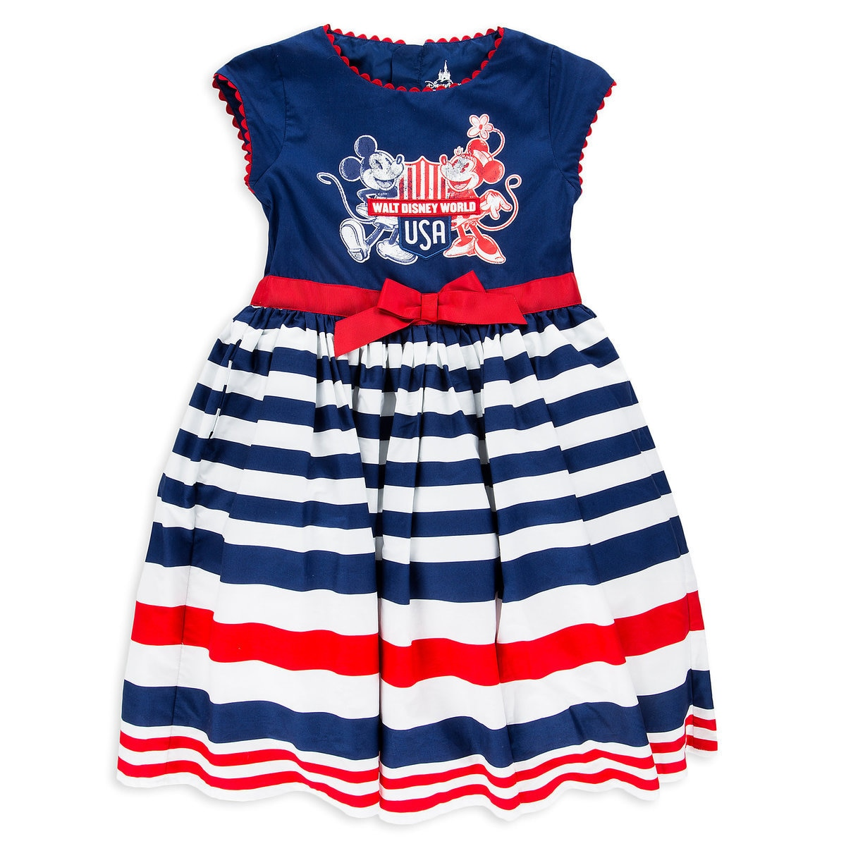 e87f44f75 Product Image of Mickey and Minnie Mouse Americana Woven Dress for Girls -  Walt Disney World