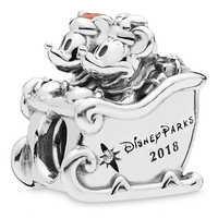 Image of Santa Mickey and Minnie Mouse Charm by PANDORA - Disney Parks 2018 # 1