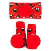 Image of Minnie Mouse Socks and Headband Gift Set for Baby by Waddle - Red # 1