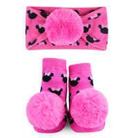 Image of Minnie Mouse Socks and Headband Gift Set for Baby by Waddle - Pink # 1