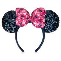 Image of Minnie Mouse Sequined Ear Headband with Satin Bow - Disney Parks 2019 # 1