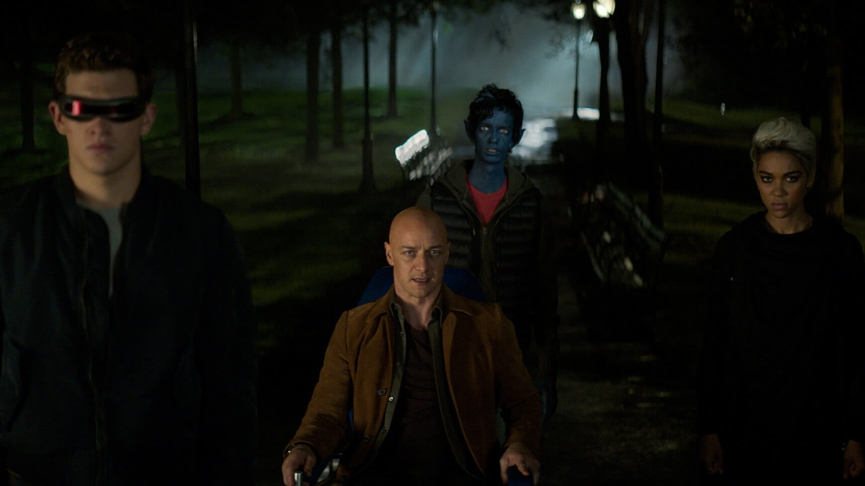 "Actors James McAvoy (as Professor Charles Xavier) Ty Sheridan (Cyclops), Kodi Smit-McPhee (as Kurt Wagner/Nightcrawler), and Alexandra Shipp (as Ororo Munroe/Storm) in the movie ""X-Men: Dark Phoenix"