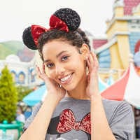 Image of Minnie Mouse Sequin Ear Headband # 2
