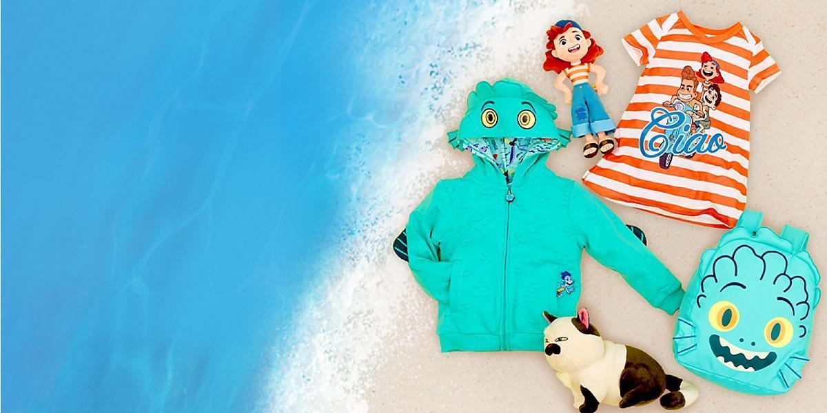 Una selezione di prodotti ispirati al film Luca per te da shopDisney