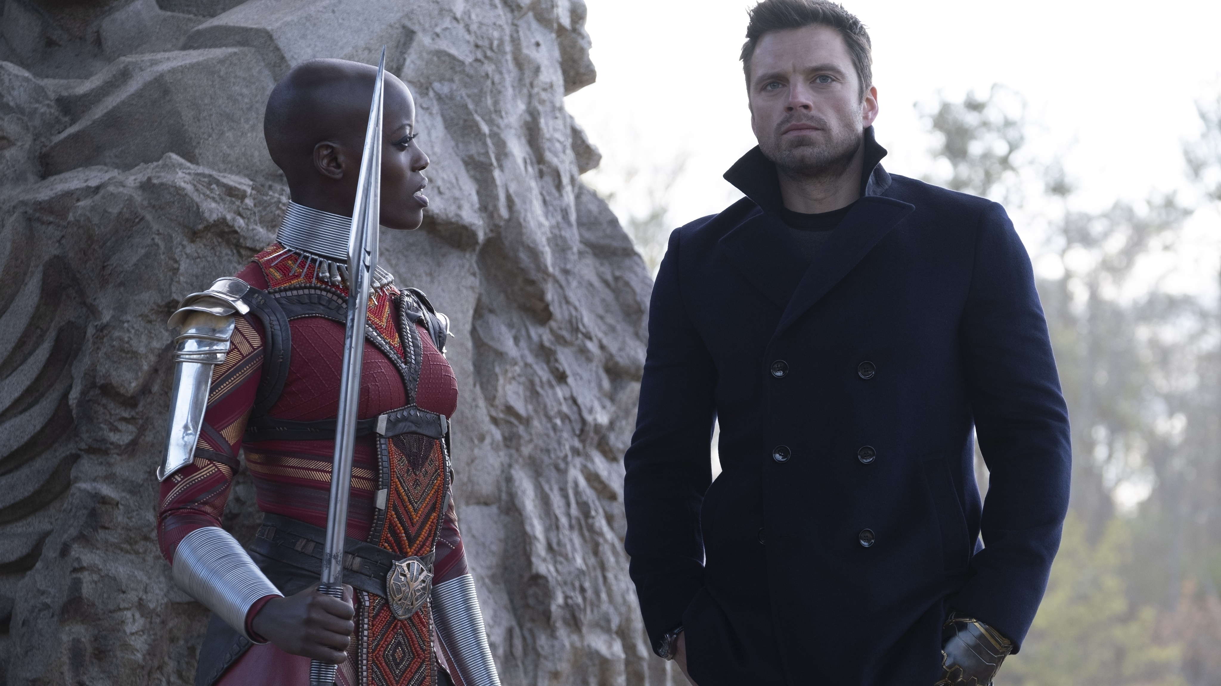 (L-R): Ayo (Florence Kasumba) and Winter Soldier/Bucky Barnes (Sebastian Stan) in Marvel Studios' THE FALCON AND THE WINTER SOLDIER exclusively on Disney+. Photo by Chuck Zlotnick. ©Marvel Studios 2021. All Rights Reserved.