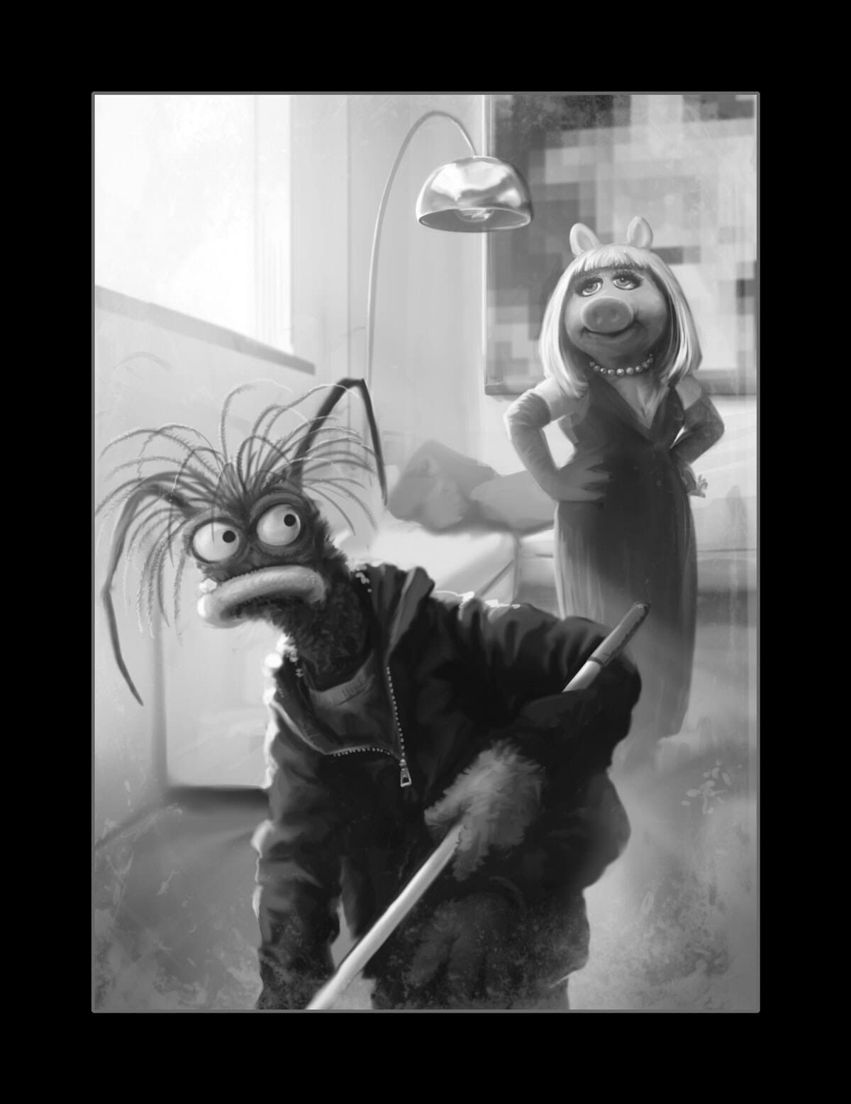 Black and white illustration of Miss Piggy and Pepe the King Prawn