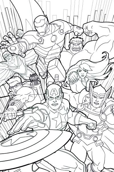 Vingadores Unidos: página de colorir