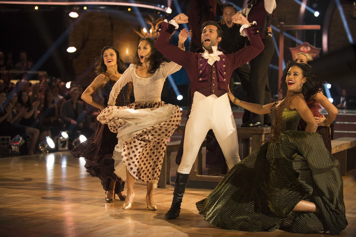 Juan Pablo Di Pace and Cheryl Burke dancing, dressed as characters from Beauty and the Beast
