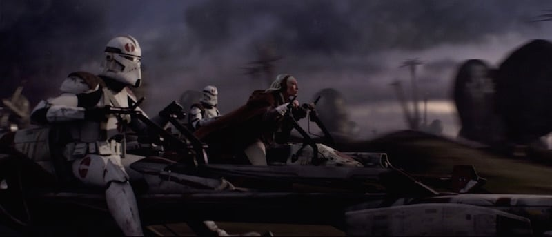 Republic forces ride Aratech 74-Z speeder bikes