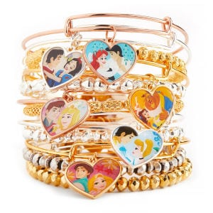 ALEX AND ANI Bangles Featuring Disney Princess Couples