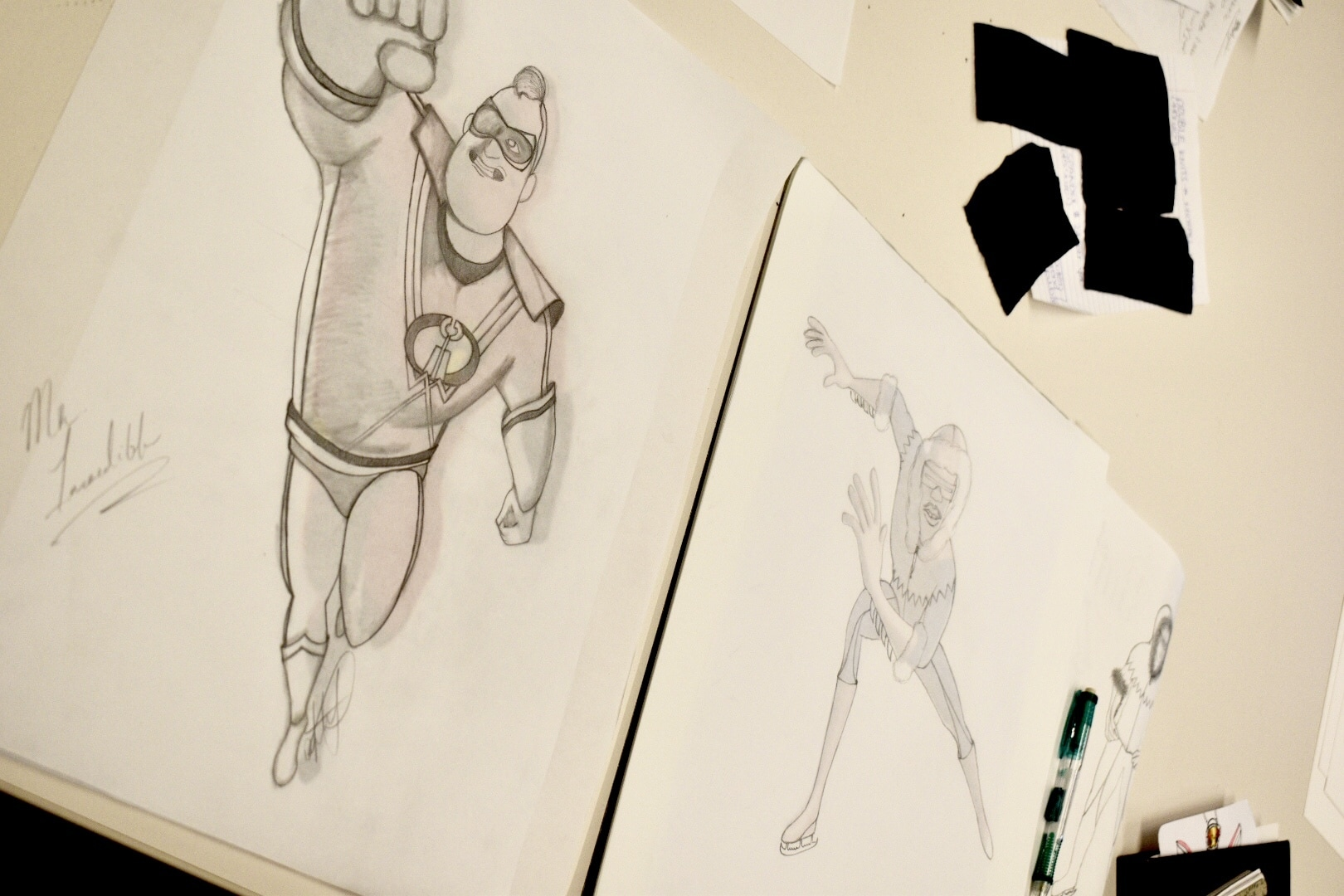 Incredibles 2 outfit design ideas sketch from FIDM students
