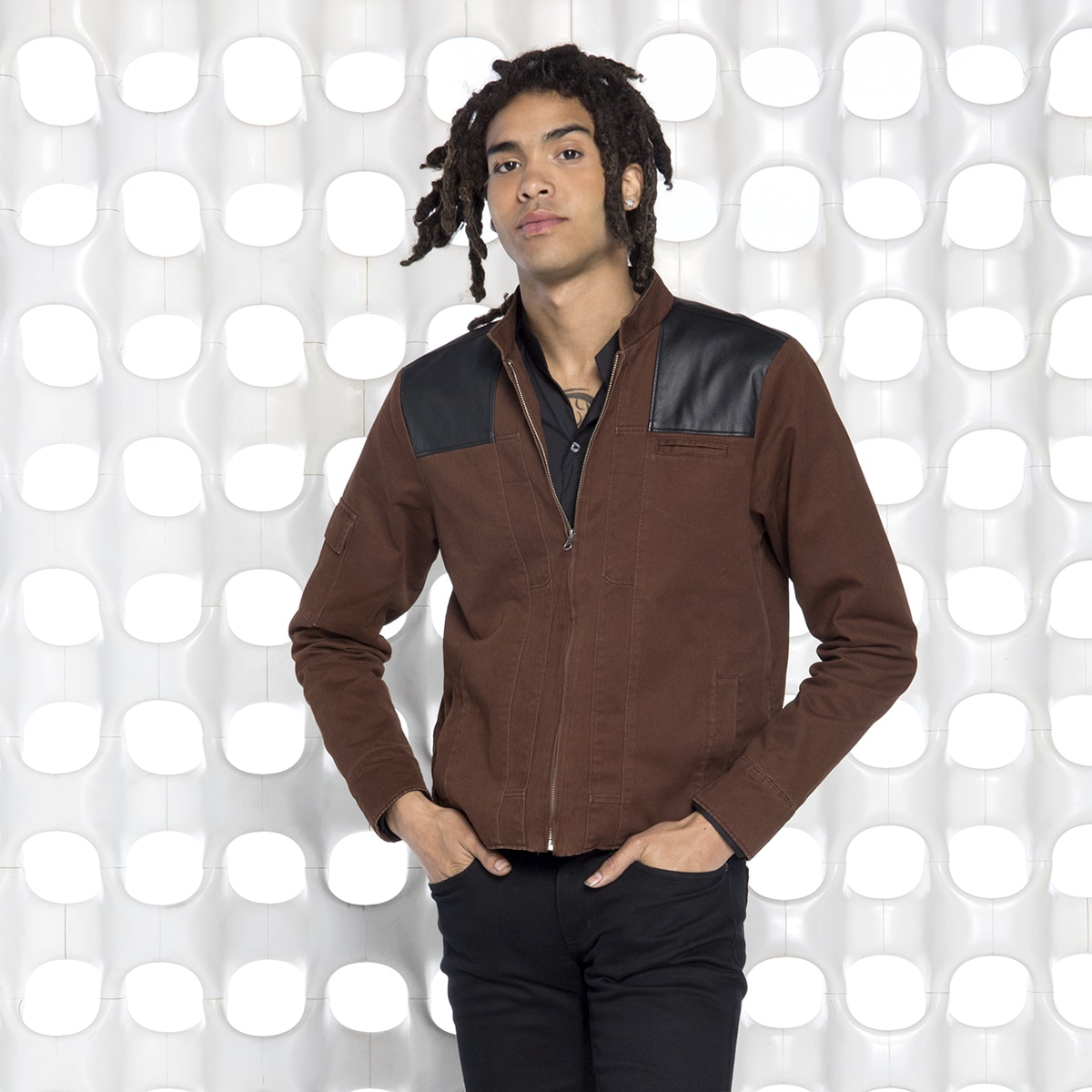Model in brown jacket from the Her Universe Solo: A Star Wars Story Collection