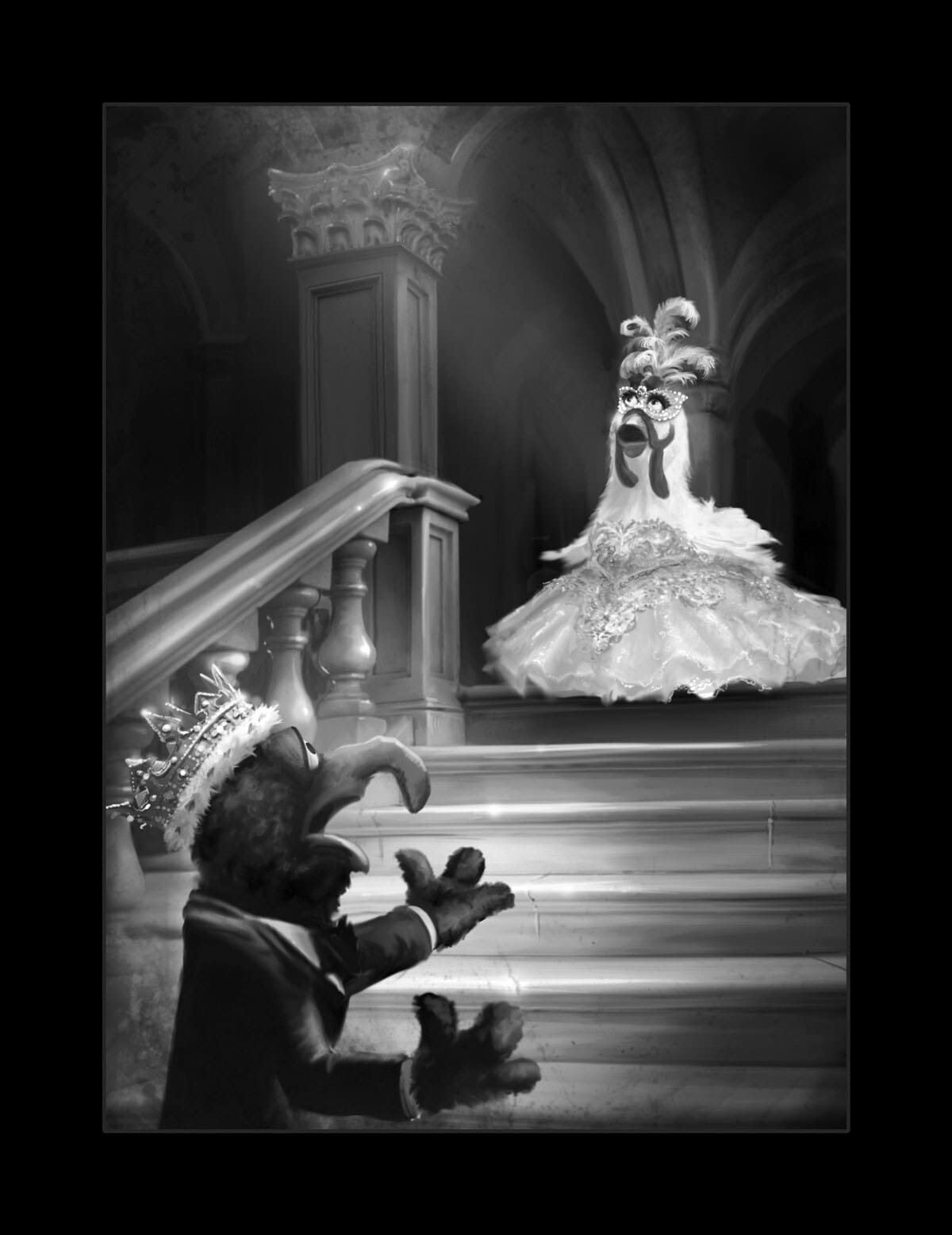 black and white illustration of Gonzo and Camillia