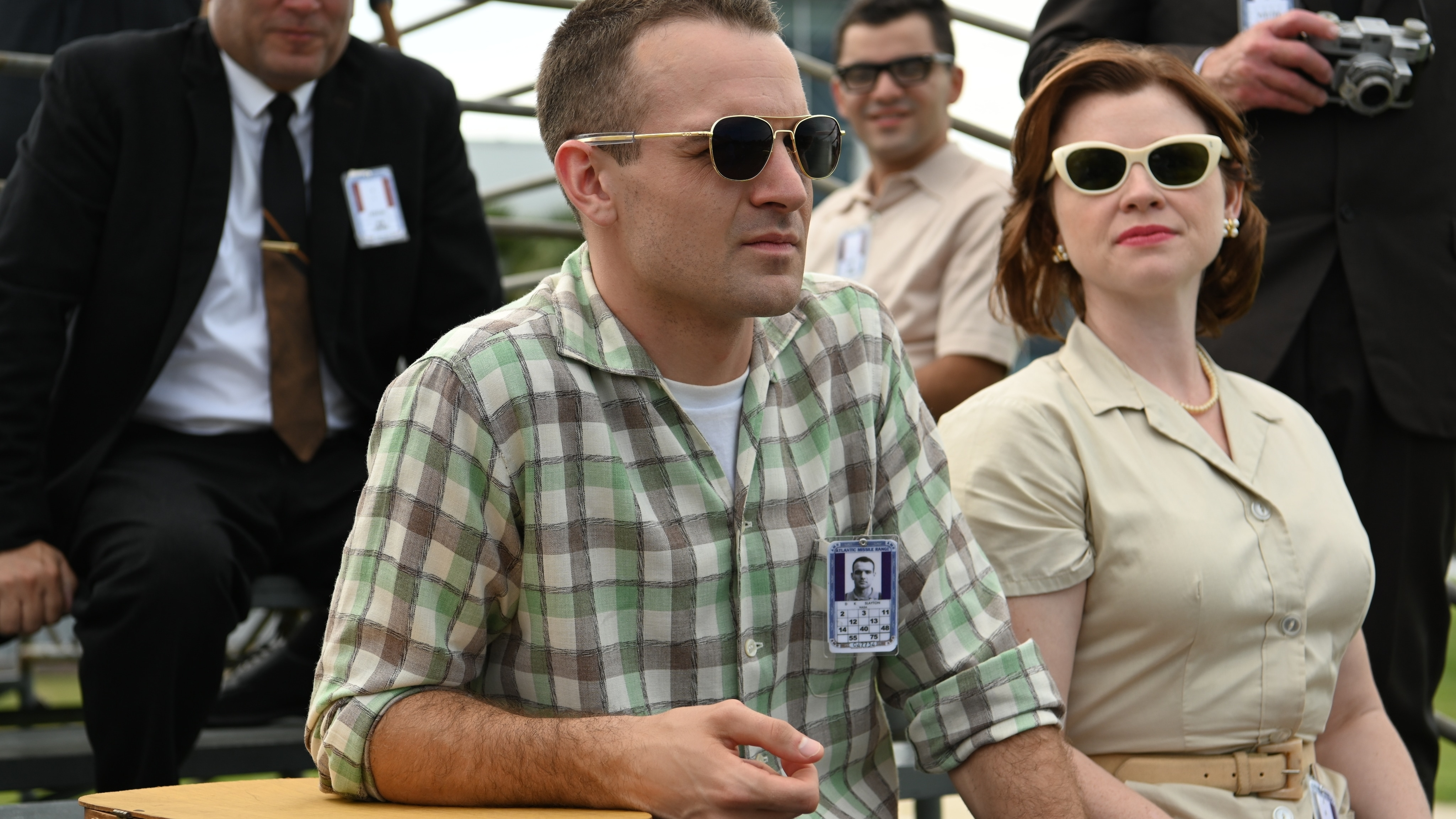 Deke Slayton played by Micah Stock and Marge Slayton played by Victoria White watch the launch of a test rocket in National Geographic's THE RIGHT STUFF streaming on Disney+. (National Geographic/Gene Page)