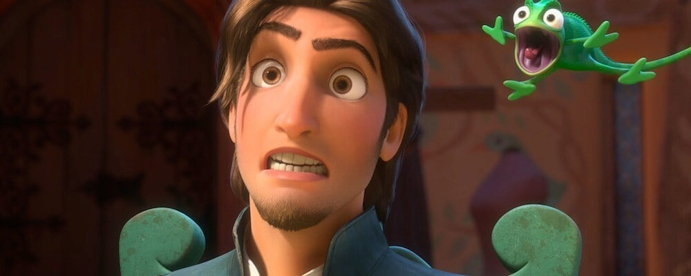 "Flynn Ryder and Pascal the chameleon in the animated movie ""Tangled"""