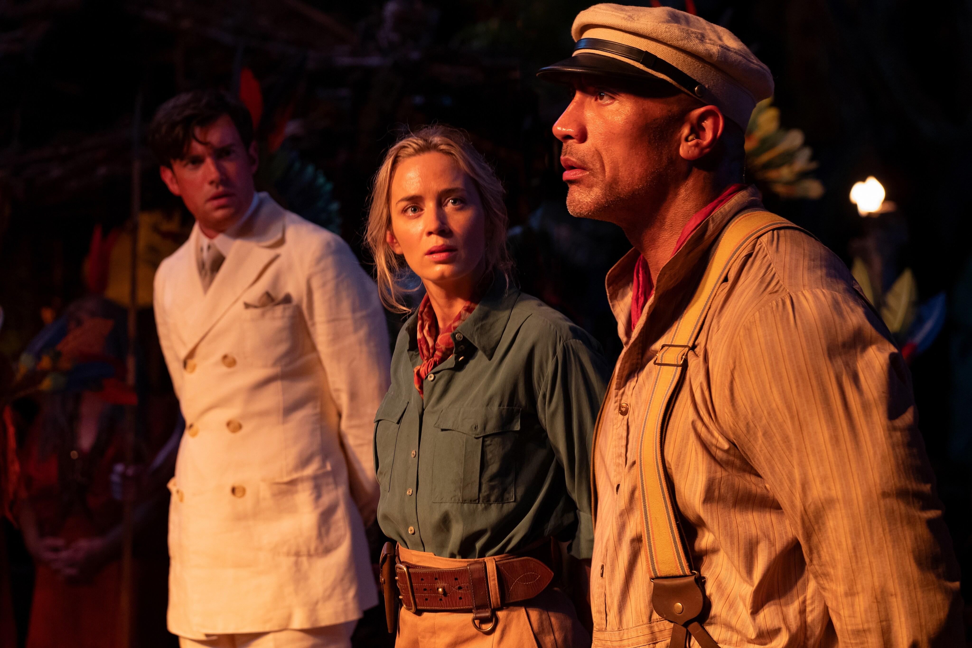 Disney's Jungle Cruise Film Still of Jack Whitehall, Emily Blunt, and Dwayne Johnson filming a scene